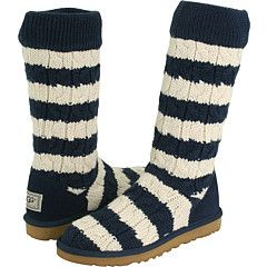 Navy Cream Stripe Cable Knit UGG Boots $90.80