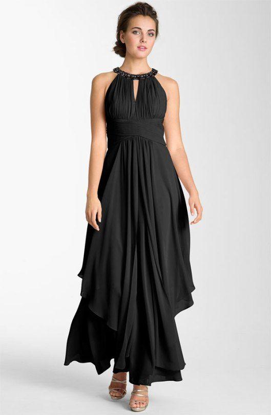 Halter Long Black Bridesmaid Dress | Dress Trends- Bridal ...