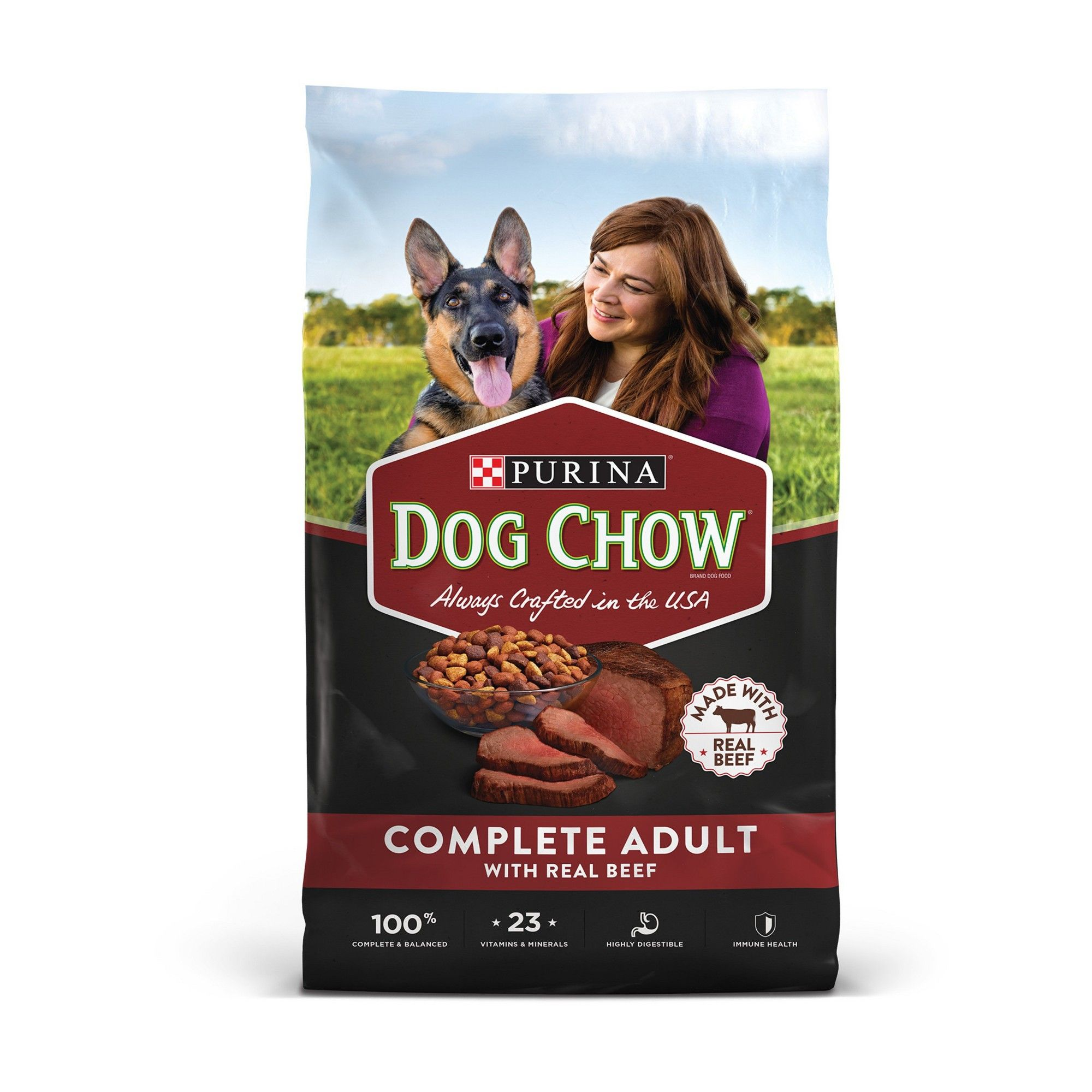 Purina Dog Chow Dry Dog Food Complete Adult With Real Beef 46lb