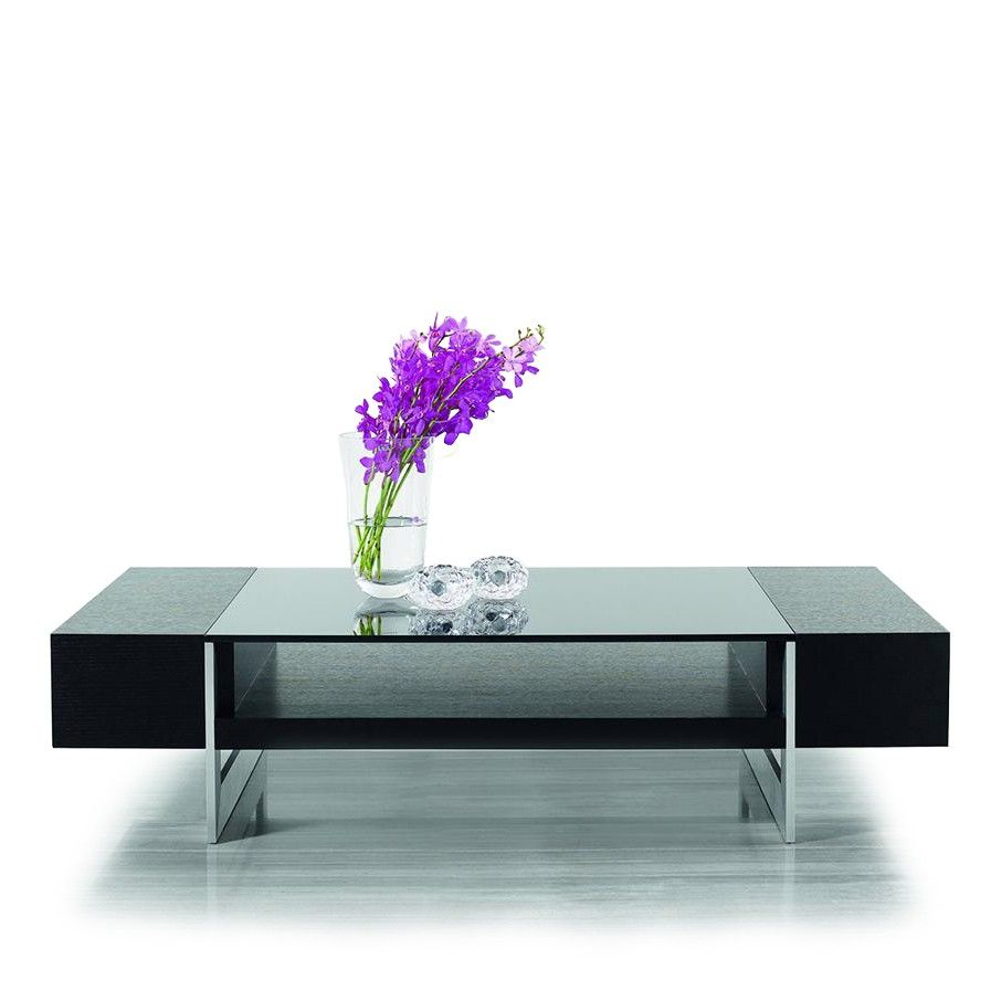 modern rectangular black oak coffee table with black glass top