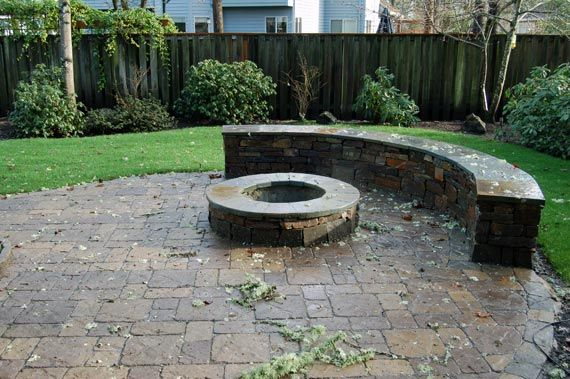 paver patio fire pit - Google Search | Fire pit paver patio redesign ...