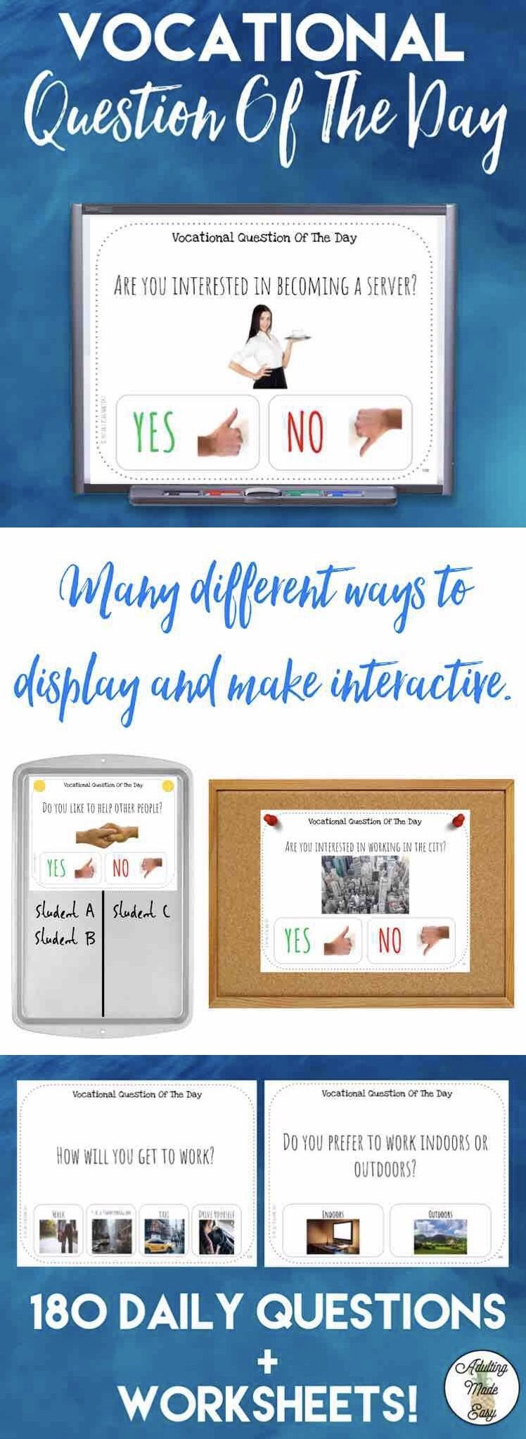 Worksheets Vocational Skills Worksheets vocational question of the day w visuals pinterest worksheets 180 pages daily interest questions with visualsreal images coordinating survey