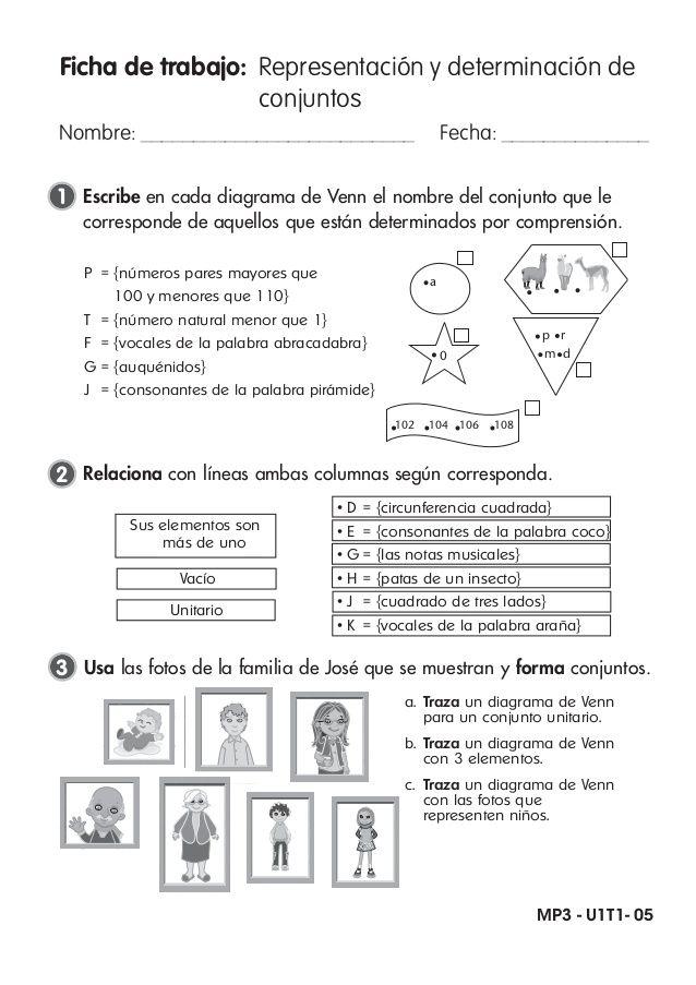 Ficha de trabajo: Representación y determinación de conjuntos Nombre ...
