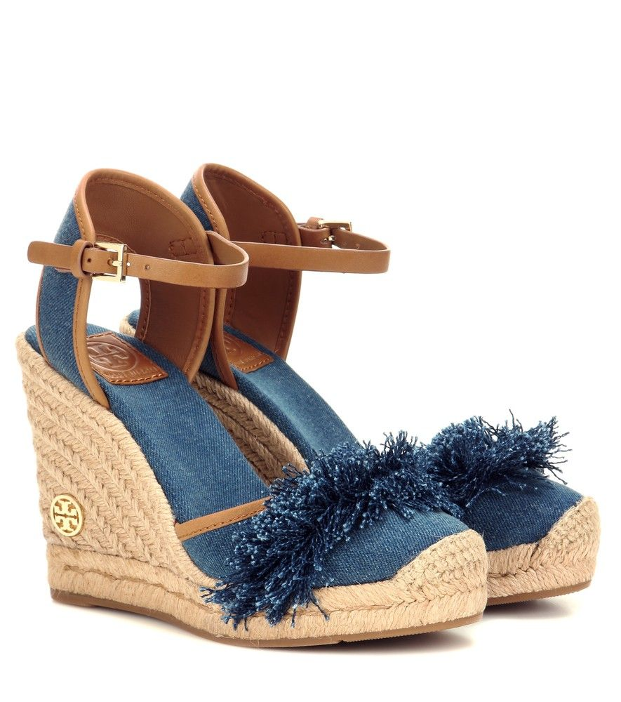aa1c52ea194cc7 Tory Burch - Shaw 90 denim wedge espadrilles - Tory Burch proves to be an  expert