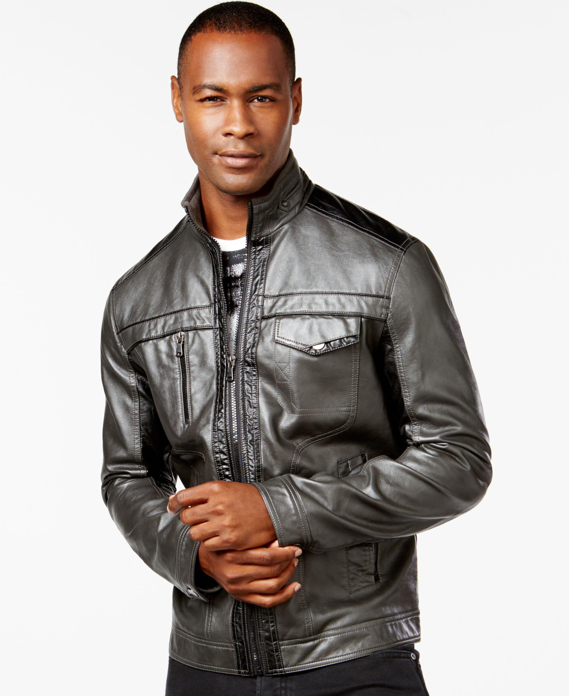 Inc International Concepts Jones Two Tone Faux Leather Jacket Only At Macy S Coats Jackets Men Macy S Leather Jacket Men Leather Jacket Leather [ 2378 x 1947 Pixel ]