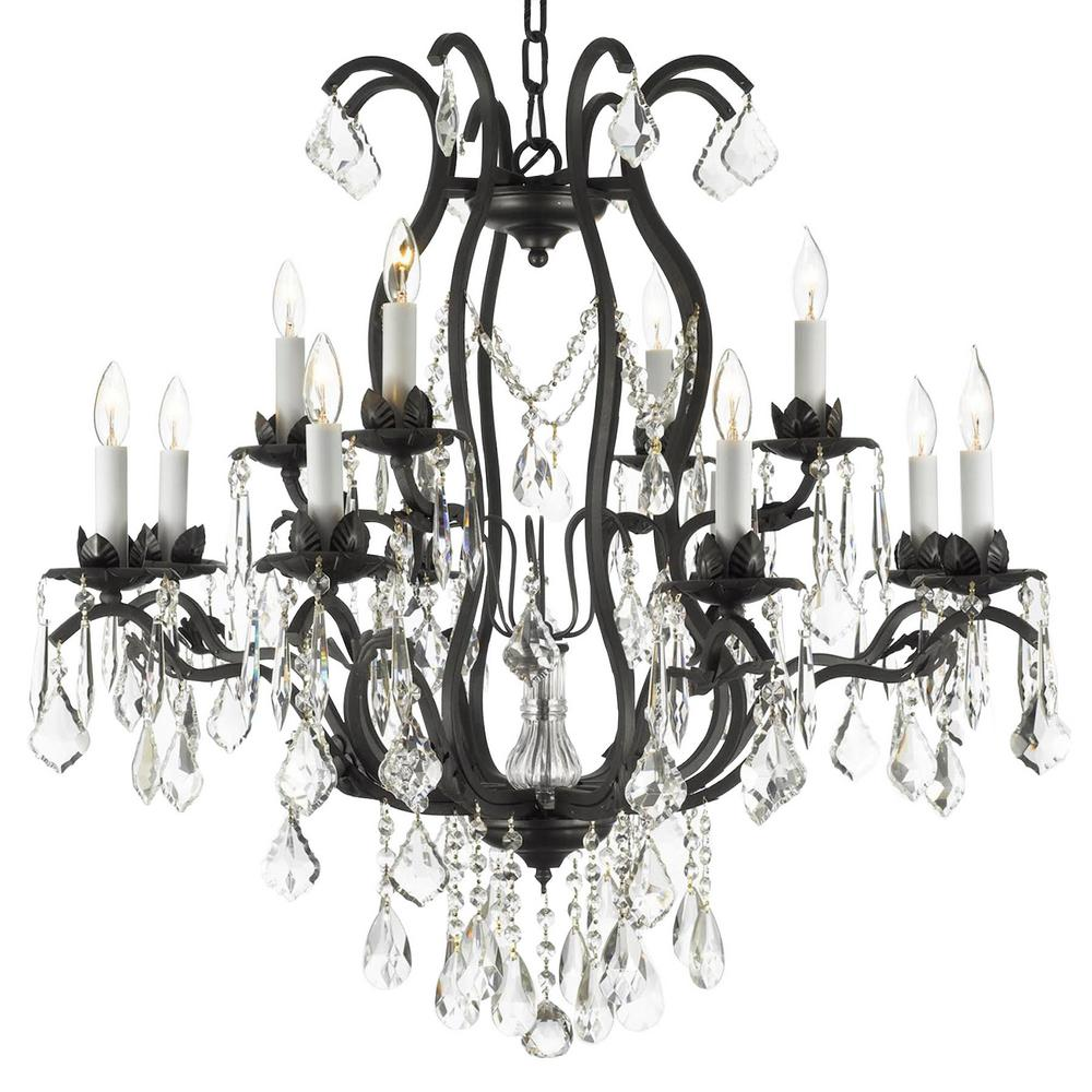 Unbranded Versailles 12 Light Wrought Iron And Crystal Chandelier T40 428 The Home Depot In 2020 Chandelier Lighting Black Chandelier Wrought Iron Chandeliers
