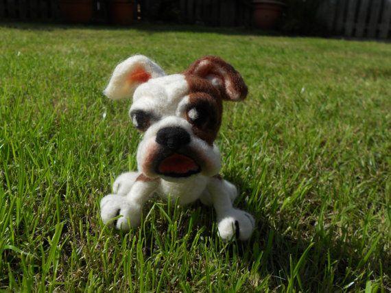 Sale Bulldog soft dog plushie sculpture. Needle felted bulldog art, Dog sculpture