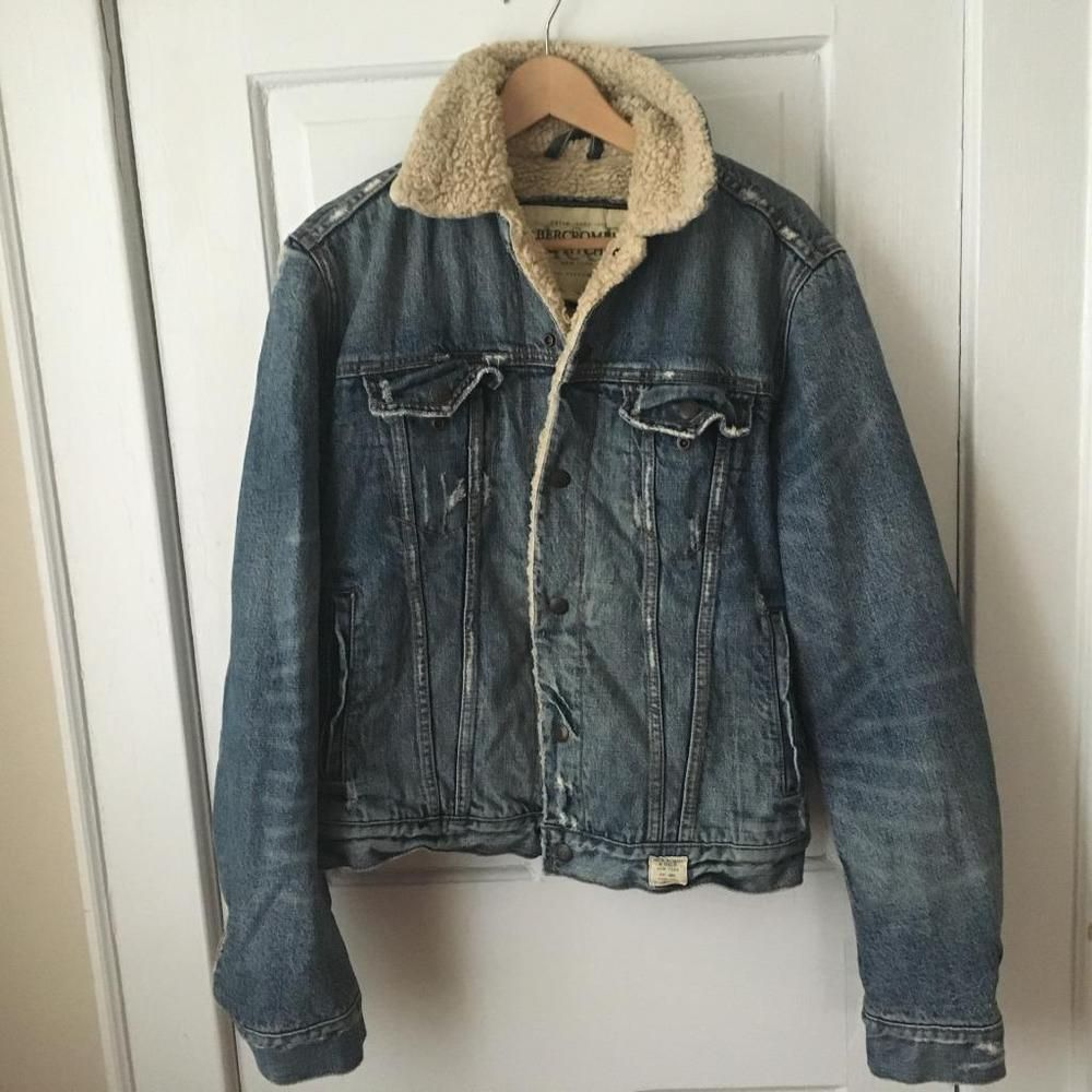 Small Men S Abercrombie Fitch Jacket Sherpa Lined Jean Jacket Fashion Clothing Shoes Accessories Womensclothing Coatsja Lined Jeans Jackets Vest Jacket [ 1000 x 1000 Pixel ]