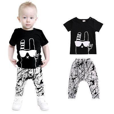 7dd28724fcf 2pcs Baby Boys Girls Clothes 2016 New Arrival Summer Cute Black Top T Shirt  and Pant Outfit Kids Bebes Clothing Set 0-24M
