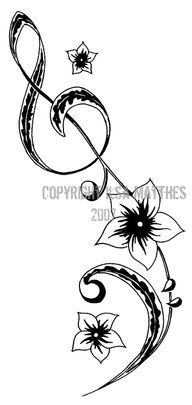 Music Tattoo...Maybe bottom half only but I do like the flowers..maybe plumeria #style #shopping #styles #outfit #pretty #girl #girls #beauty #beautiful #me #cute #stylish #photooftheday #swag #dress #shoes #diy #design #fashion #Tattoo