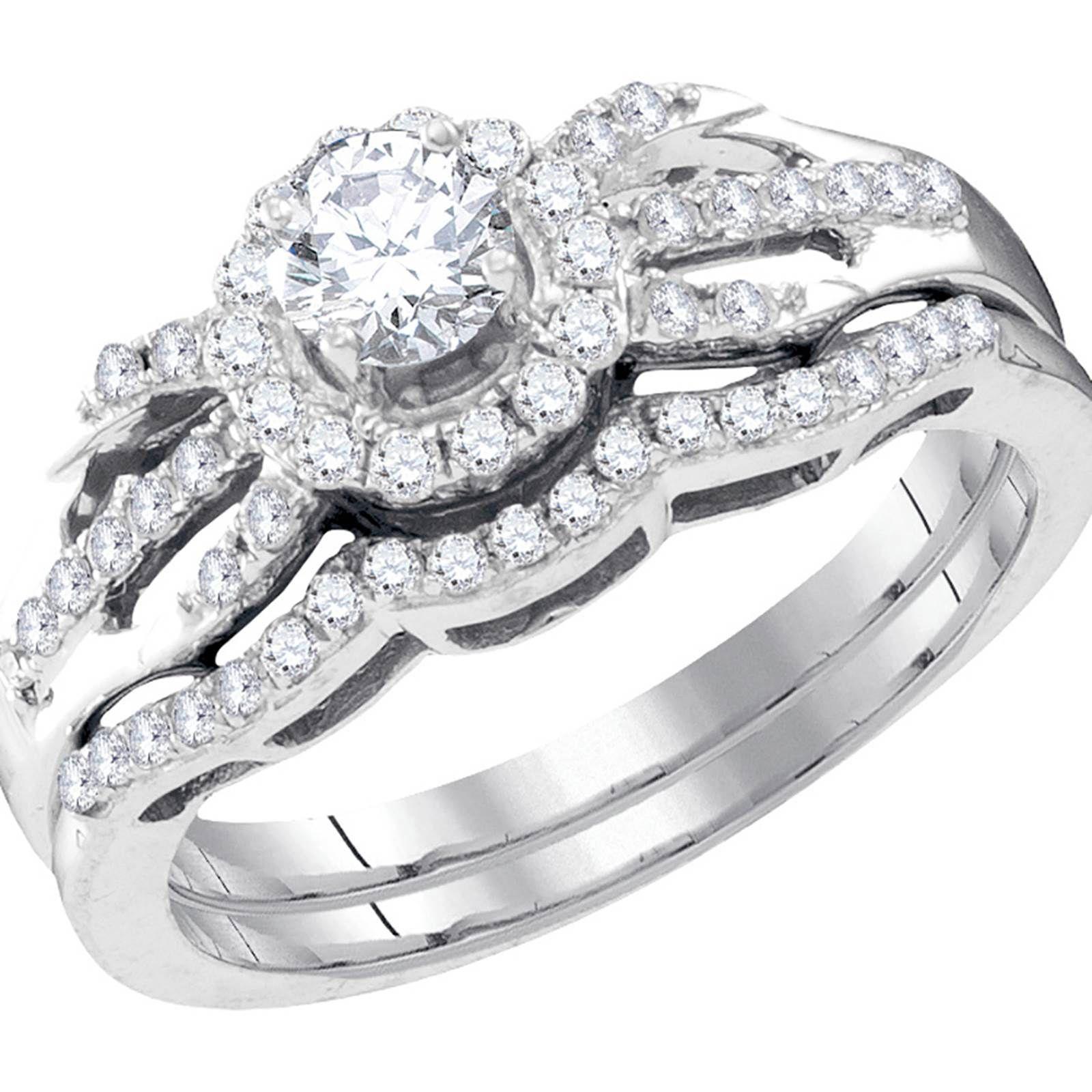 10k White Gold 0.16CT CTR Round Diamond 0.51CTW Ladies