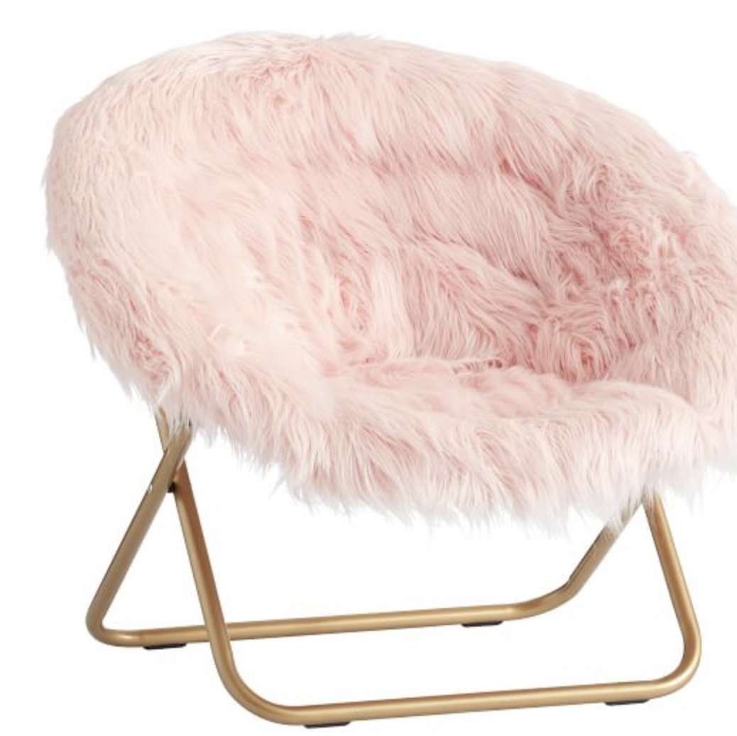 pink fluffy chair for book-nook #chairs | Round chair, Room ...