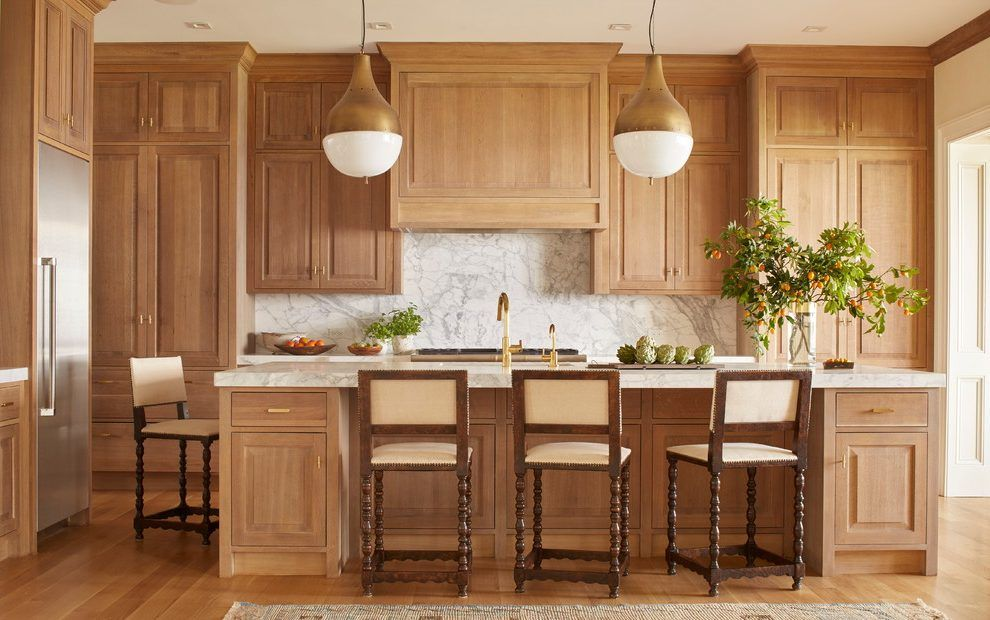 Light Stained Cabinets Kitchen Traditional With White