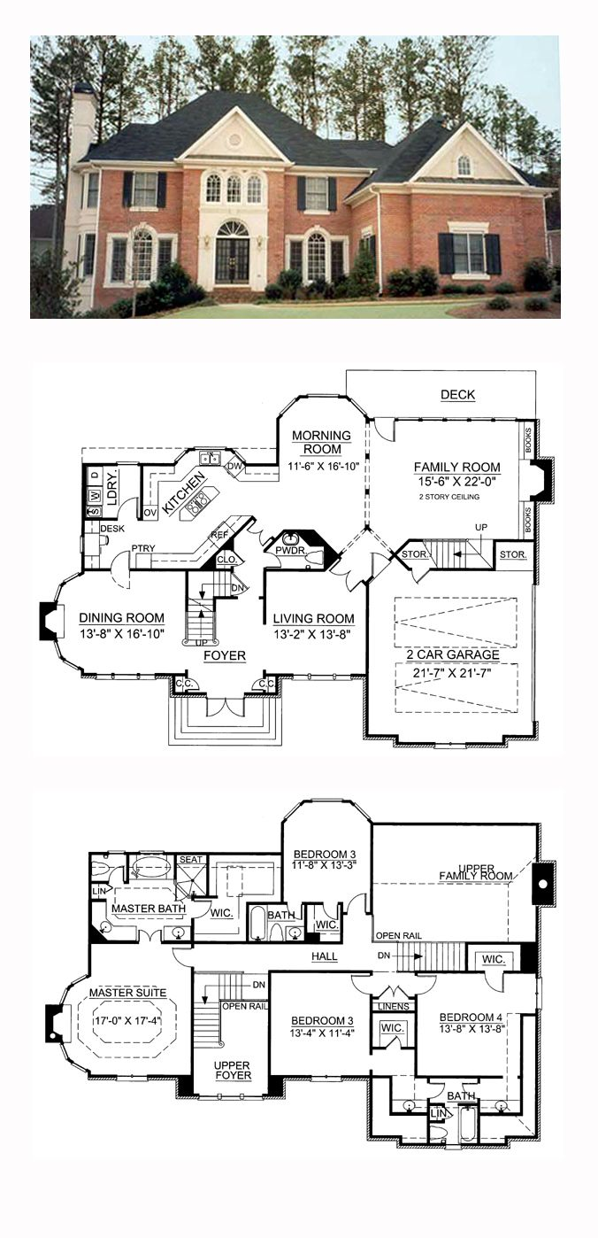 Greek Revival Style House Plan with 4 Bed 4 Bath 2 Car Garage
