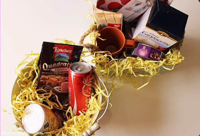 Ghada S Blog هديه سلة كوفي Diy Basket Coffe Gift Diy Basket Basket Gifts