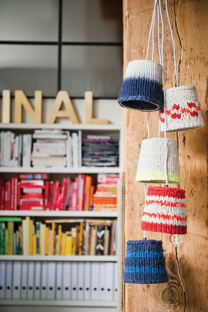 knit lampshades - gotta figure out how to diy this