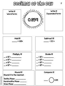 Decimal Of The Day Decimal Review Math School Teaching Math