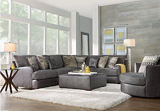 Picture Of Skyline Drive Gray 3 Pc Sectional Living Room From Living Room Sets Furniture Living Room Sectional Sectional Living Room Sets Grey Living Room Sets