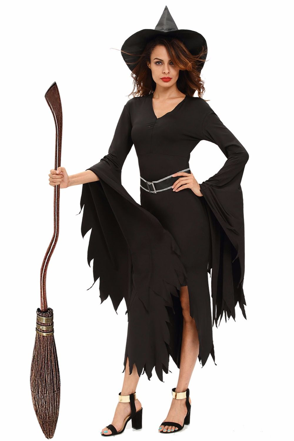 Click to buy ucuc black irregular sleeves gothic witch halloween