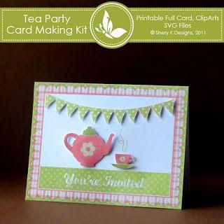 Free tea party invitation card making kit free svg wpc cut files free tea party invitation card making kit stopboris Image collections