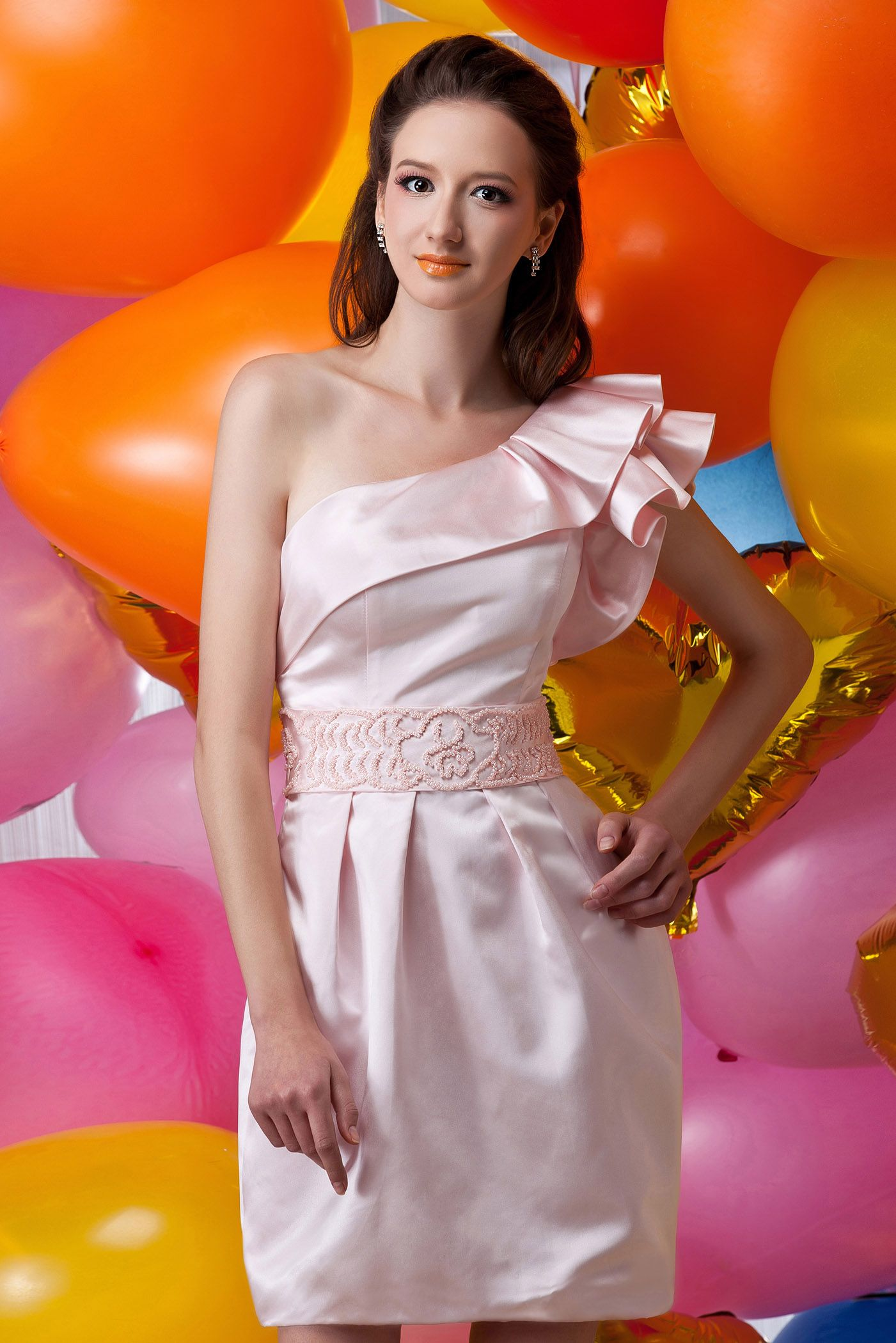 Faddish short mini oneshoulder maria anastasiaus color wedding