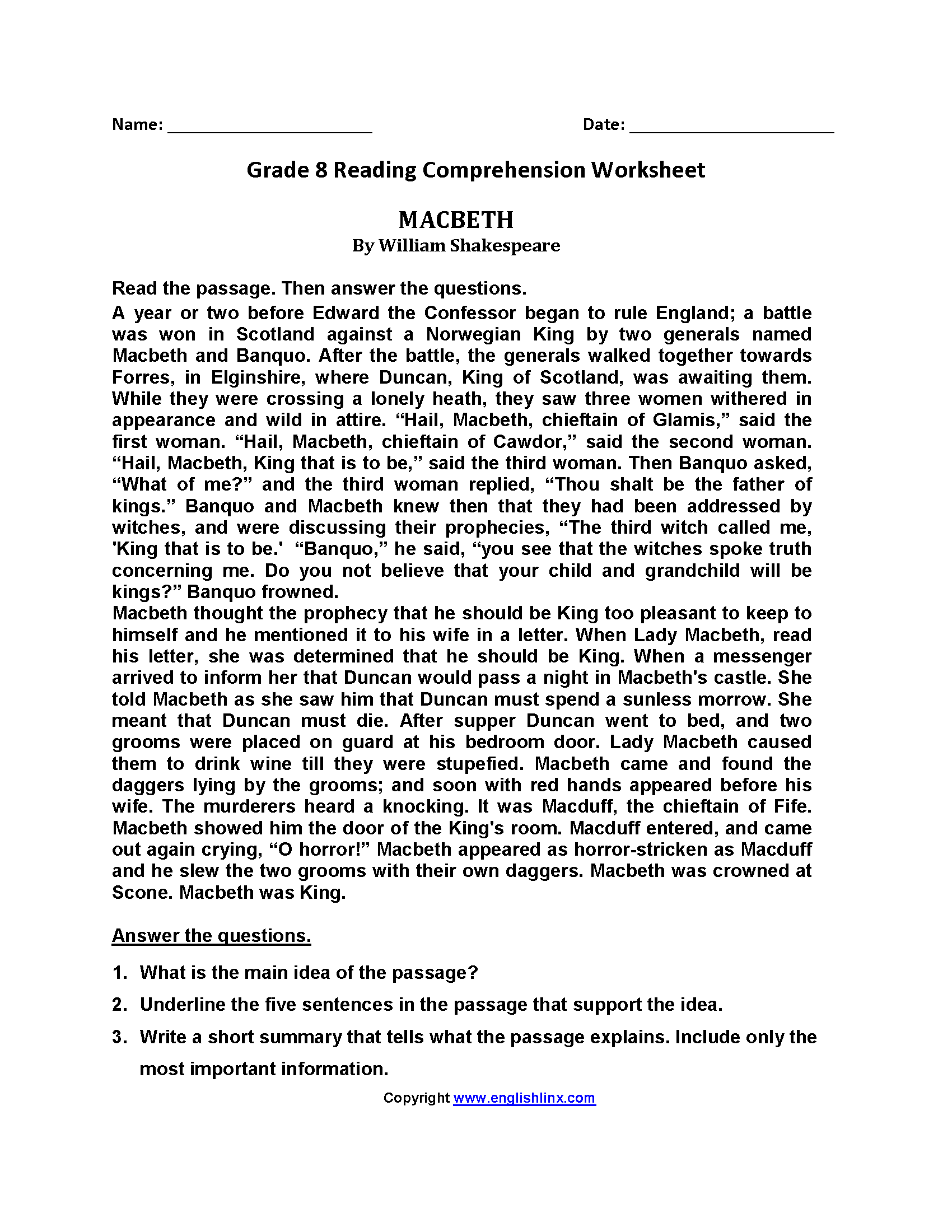 Macbeth Eighth Grade Reading Worksheets | Reading worksheets ...
