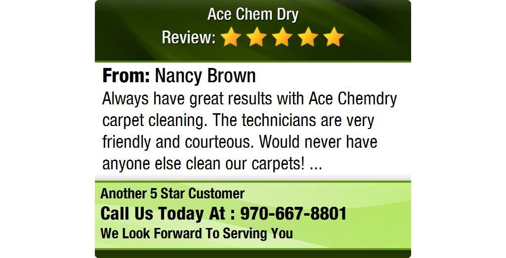 Always have great results with Ace Chemdry carpet cleaning. The technicians are very...