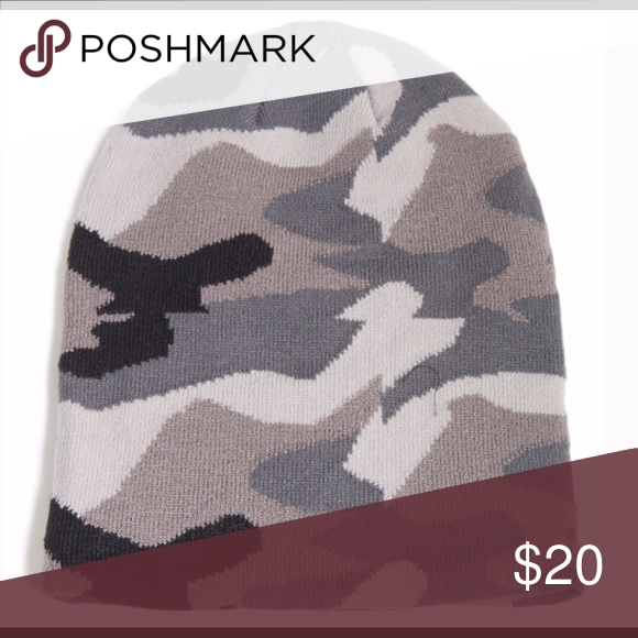 2fce2c625b0 Black   Gray Camo Knit Beanie Camouflage beanie in black gray combo. Also  available in green black combo in separate listing. Unisex The Hatter  Accessories ...