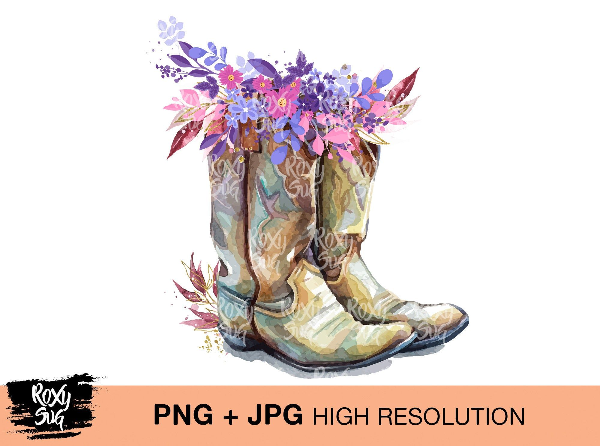 Country Cowgirl Boots Boho Flower Clipart Png Jpg Instant Etsy Flower Clipart Png Boots Cowgirl Boots