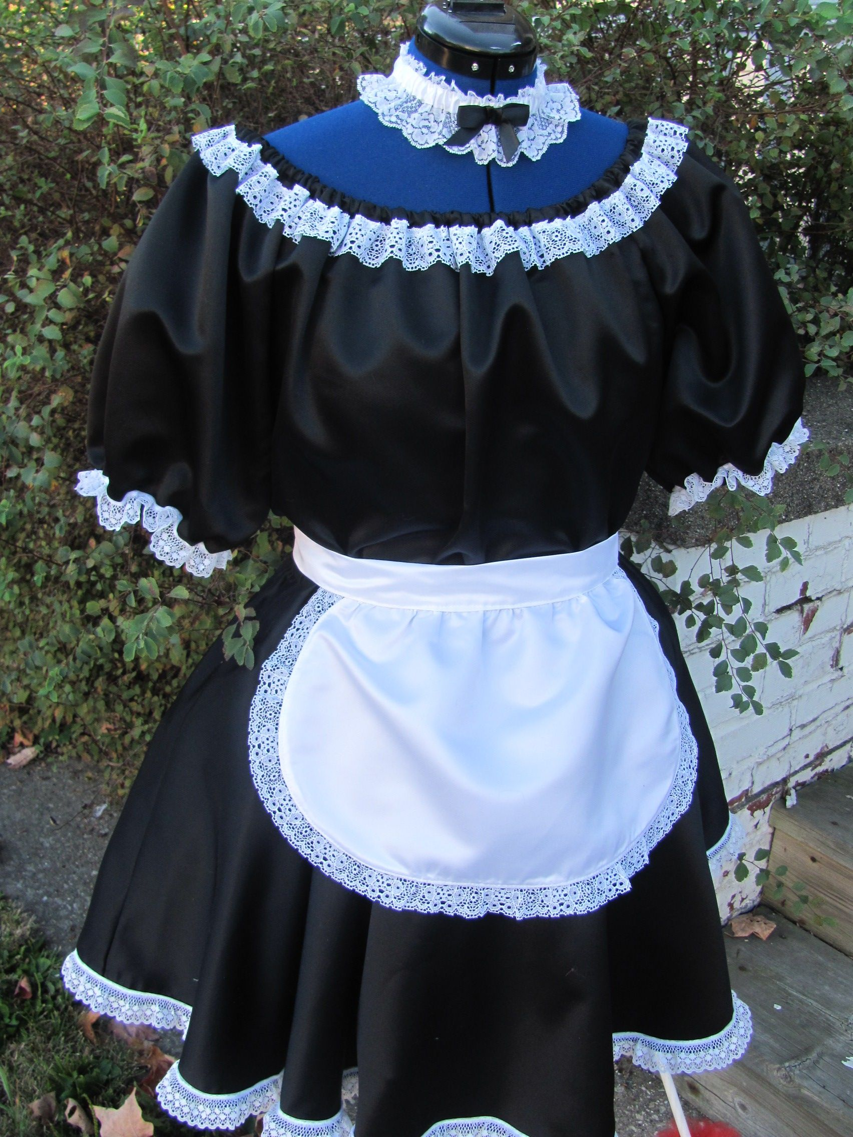 White apron lace trim - French Maid Black And White Satin With Lace Trim Includes A Frilly Apron And