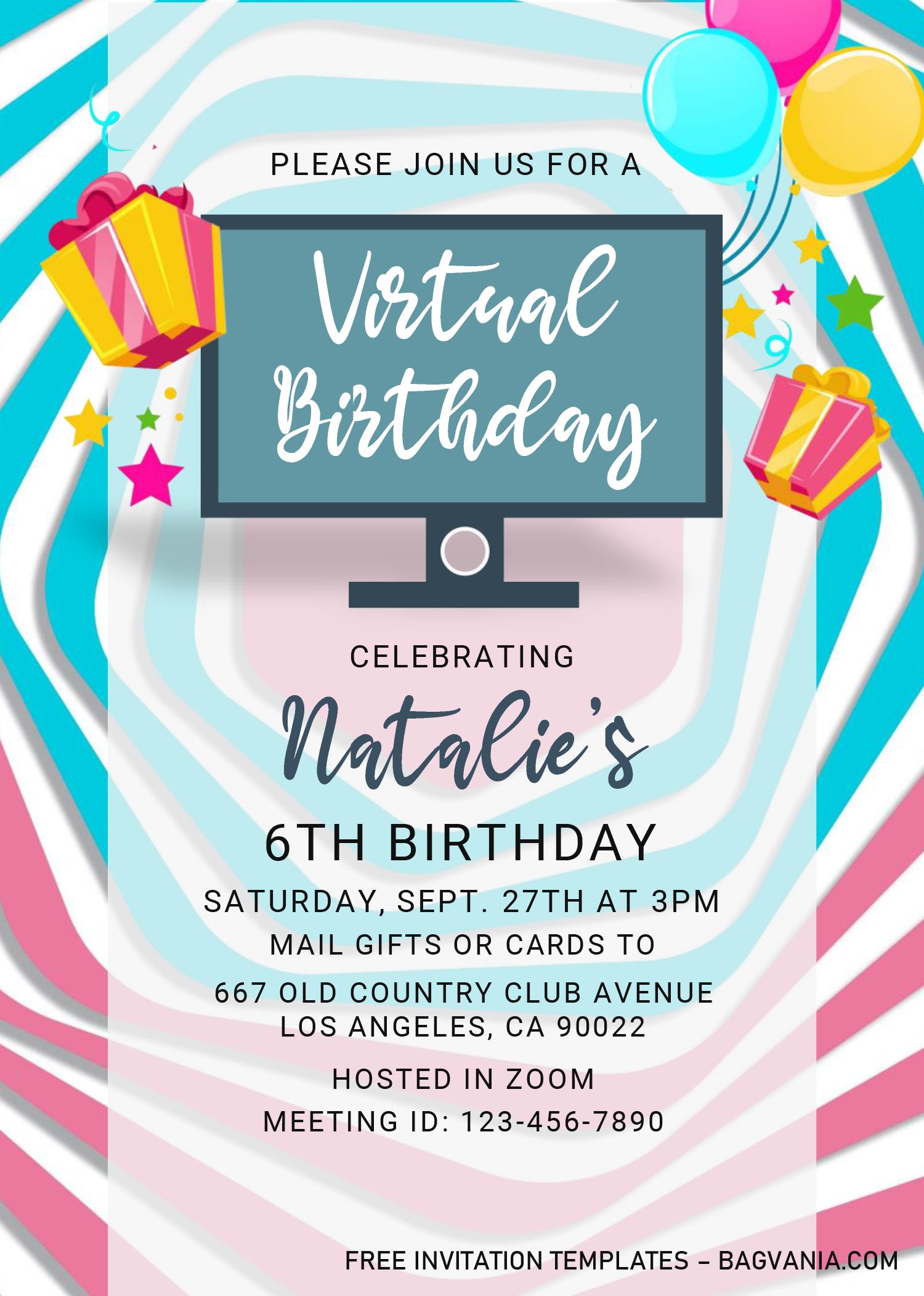 Virtual Party Invitation Templates Editable With Microsoft Word Party Invite Template Invitation Template Virtual Party