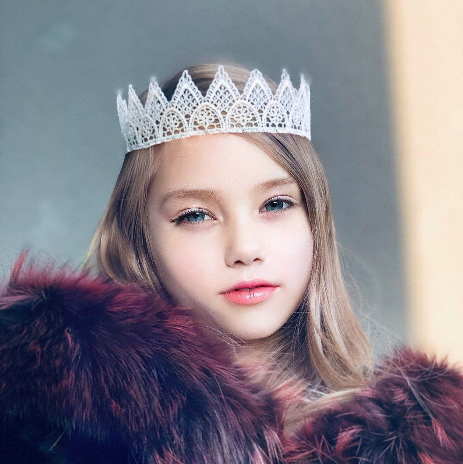 Photo of Creamy Lace Crown. Child Adult Event Crown. Photo shoots Accessory. Christmas Ornaments.
