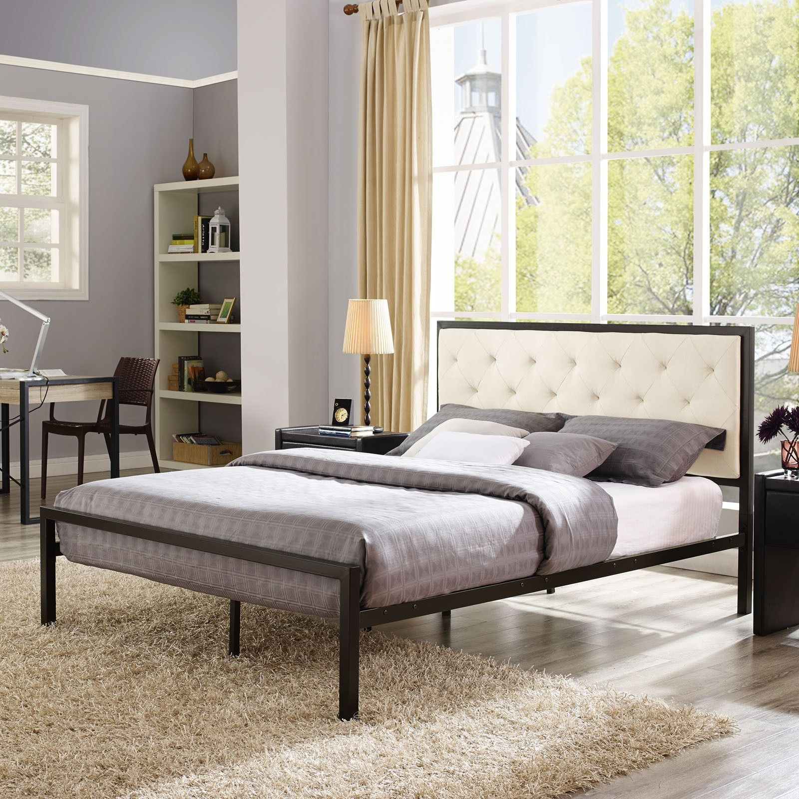 Min Cream Fabric Platform Bed Frame with 10inch Queen