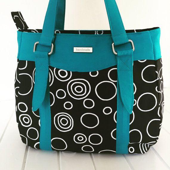 Handmade Fabric Handbag Purse Swoon Evelyn Bag For Las Teal And Black
