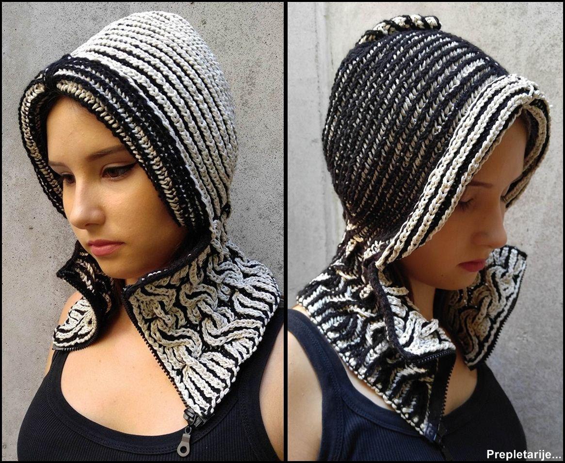 Unique lux woolen winter hood with neck-warmer/Warm hoody hat/Hand ...