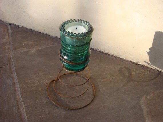 upcycled vintage glass tealight candle holder by shophana on Etsy