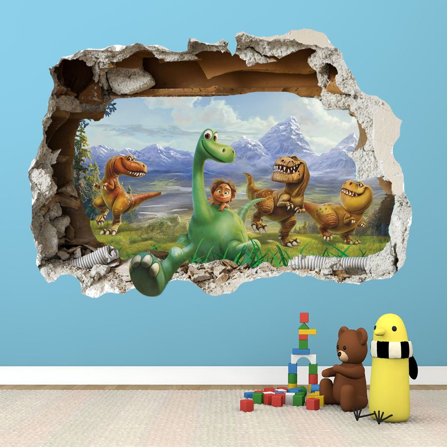 The Good Dinosaur Wall Sticker D Smashed Bedroom Boys Girls - 3d dinosaur wall decalsd dinosaur wall stickers for kids bedrooms jurassic world wall