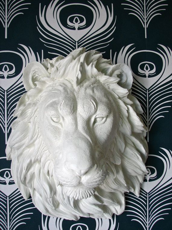 Faux Taxidermy Large Lion Head Wall Decor Wall Hanging Home Decor Leonard The Lion In White Faux Taxidermy Animal Sculptures Sculpture