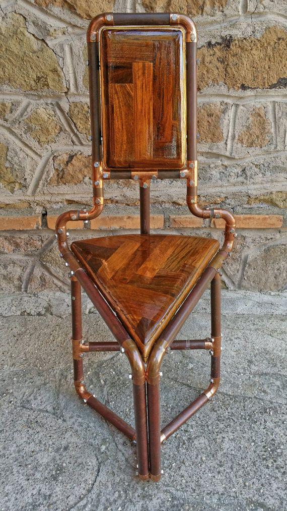 copper pipe triangular chair ladeneinrichtung industrial style st hle hocker tisch. Black Bedroom Furniture Sets. Home Design Ideas