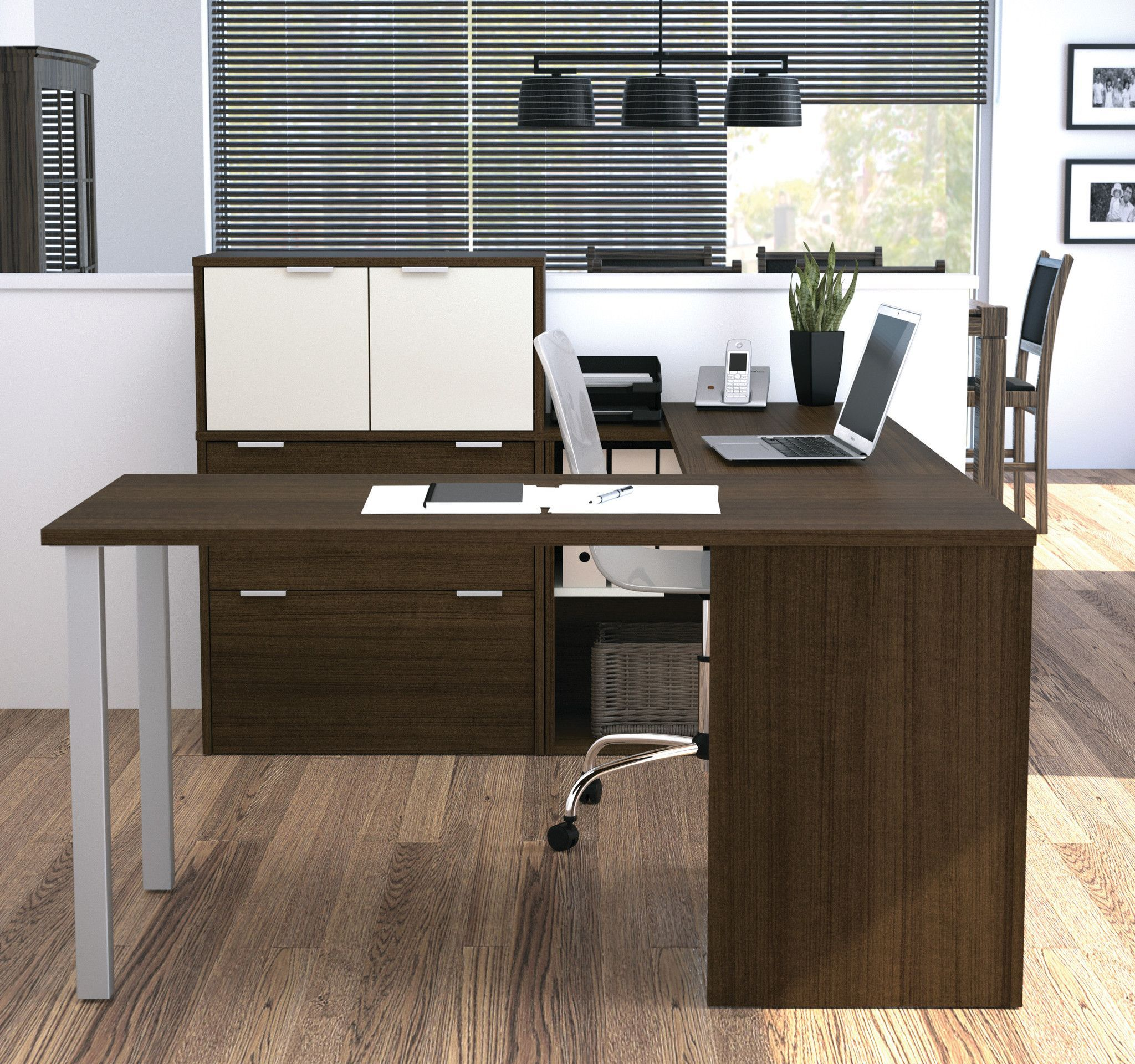 Modern ushaped desk with integrated lateral file in tuxedo u white