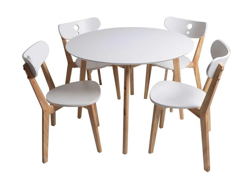 Ensemble Table 4 Chaises De Cuisine Nadia Coloris Blanc X2f