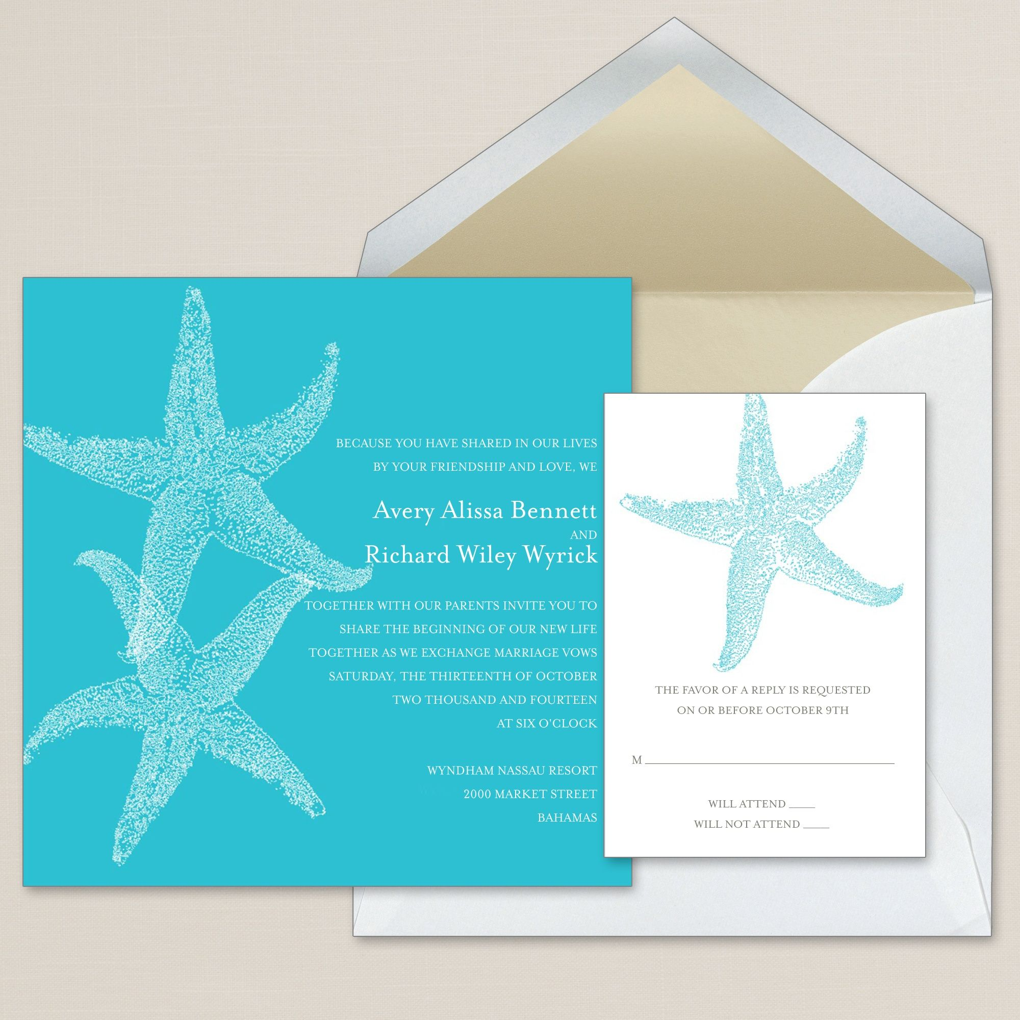 Imperial Starfish Wedding Invitation Exclusivelyweddings