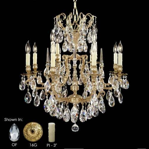 American Brass Crystal CH7031OF16GPI Parisian 18 Light – American Brass and Crystal Chandeliers
