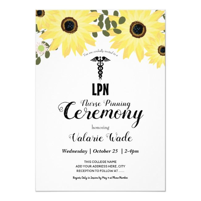 Sunflower Graduation LPN Nurse Pinning Ceremony Invitation