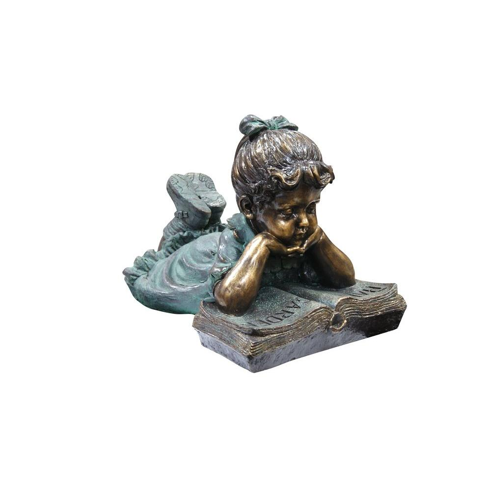 Alpine Corporation Alpine Corporation Outdoor Girl Laying Down Reading Book Statue Set Gxt268 Statue Outdoor Statues Girl Reading