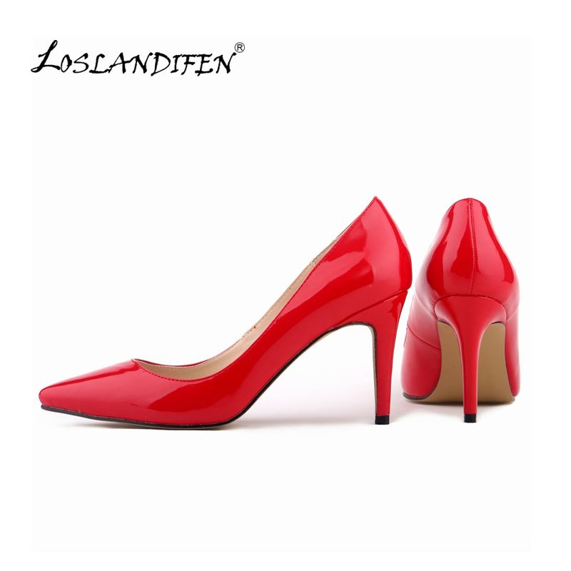 eae9ea437a3 LOSLANDIFEN Women Pumps Patent Leather Fashion Pointed Toe High ...