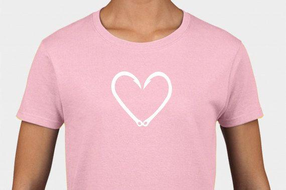FISH HOOK HEART Tee Shirt great as a gift for Men, women, and children!! tee199