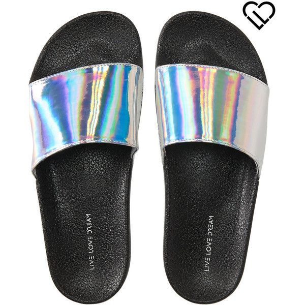 e137c5d8099 Aeropostale LLD Iridescent Slide-In Sandals ( 14) ❤ liked on Polyvore  featuring shoes