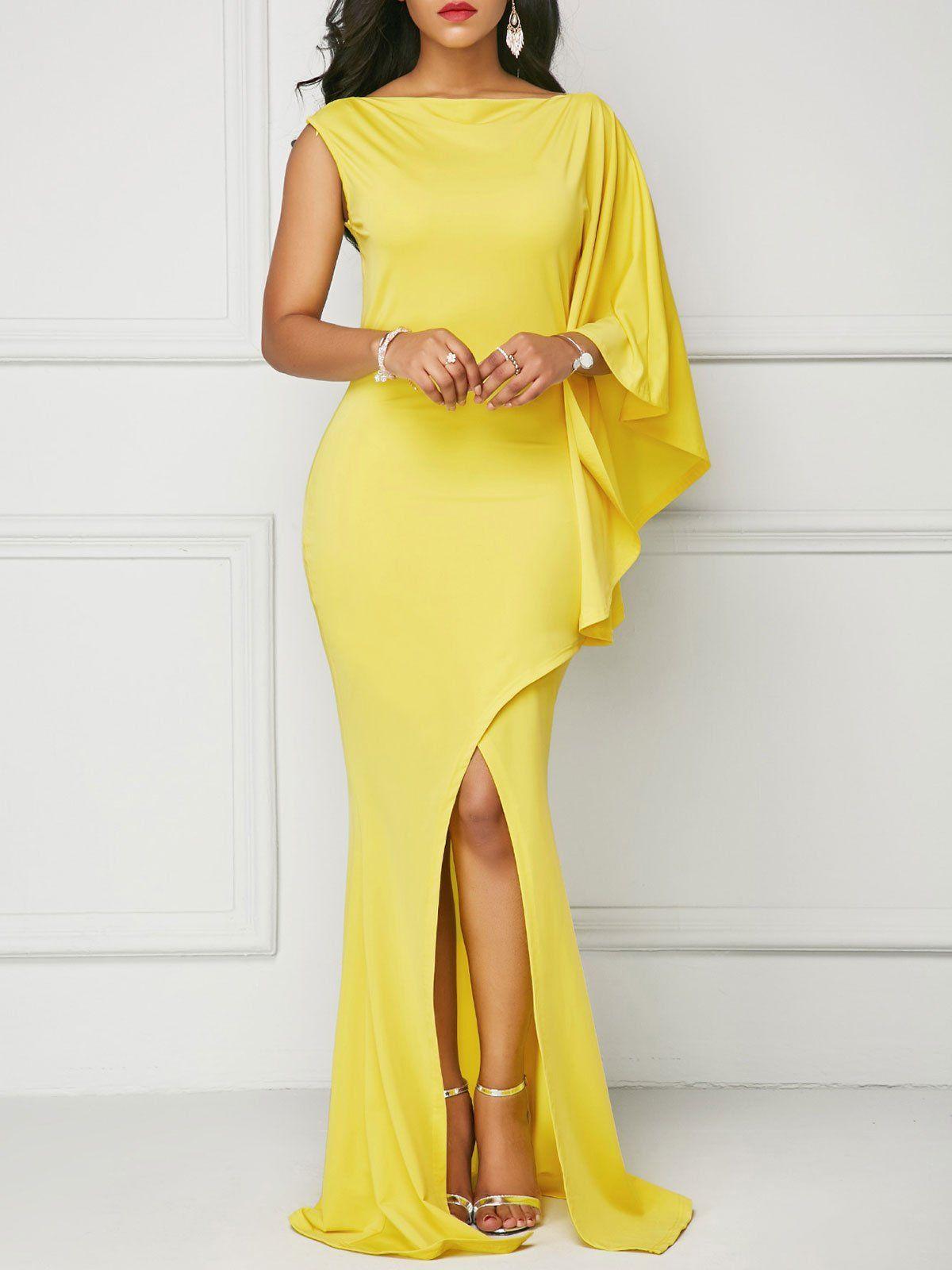 Yellow asymmertric slit cape maxi dress u rikkishop prom