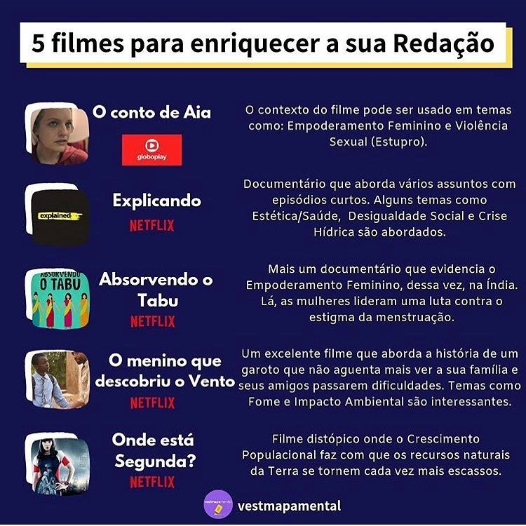 Siga A Redaflix Dicas De Filmes E Series Para Usar Na Redacao